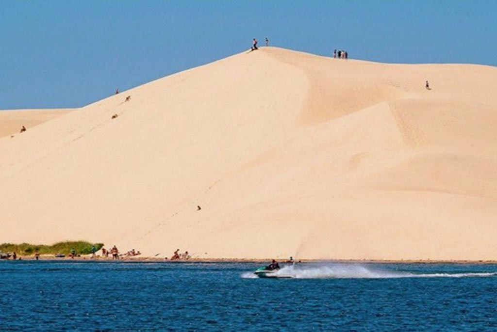 sand dunes on lake